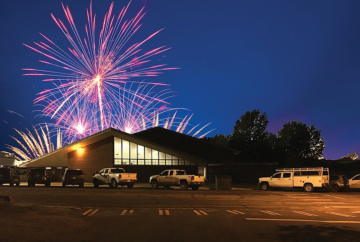Williams Volunteer Fire Department will provide a community fireworks show May 22 for the Williams High School graduates. On May 29, WHS will host a limited outdoor ceremony for the 2020 graduates.  (Wendy Howell/photo and graphic)