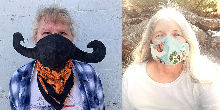 The Fancy Mask competition, sponsored by Kali Kaliche and The Williams-Grand Canyon News, received several great submissions. Winners Debbie Saugstad and Pam Laity-Schabacker each received a $100 cash prize. Left: Saugstad proudly displays her mustache mask. Right: Laity-Schabacker sewed butterflies on her mask.  (Submitted photos)