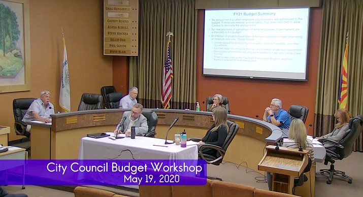 Members of the Prescott City Council attend a budget workshop Tuesday, May 19, 2020, in Prescott. (Video screenshot)