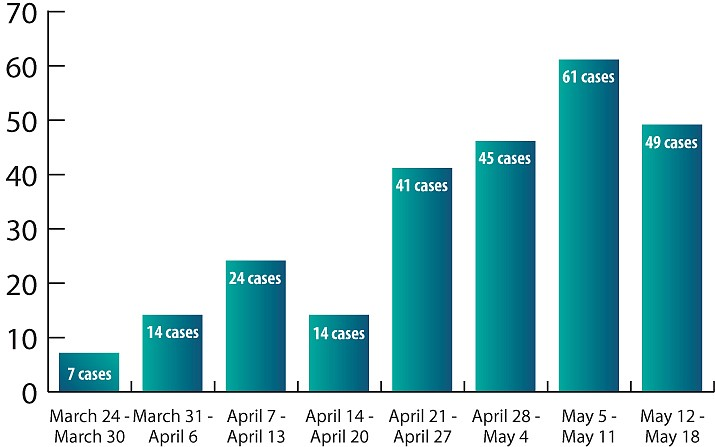 There were 49 new cases of coronavirus recorded in Mohave County in the seven-day period ending Monday, May 18. That's 12 fewer than were logged in the previous seven-day period ending Monday, May 11. (Information provided by Mohave County Department of Public Health)