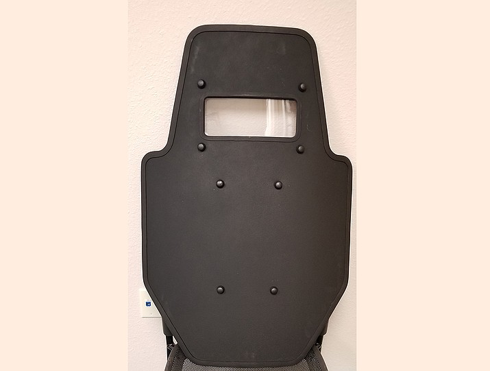 A ballistic shield has multiple uses, including being a staple during search warrants and active shooter situations. (Prescott Valley Police Department)