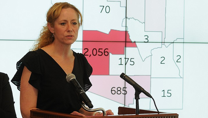 Arizona Health Director Dr. Cara Christ, shown during a news briefing, said Wednesday, May 20 that doctors can't pre-prescribe hydroxychloroquine or chloroquine for COVID-19 in Arizona. (Photo by Howard Fischer/For the Miner)