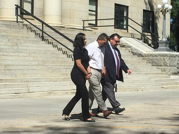 Cecilio Cruz leaves the Yavapai County Superior Courthouse in Prescott with his new attorney, Alex Gonzalez (right), on Sept. 10, 2018, after a pretrial conference. (Max Efrein/Courier, file)
