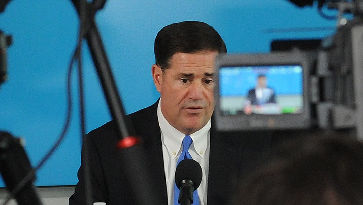 Arizona Gov. Doug Ducey speaks during a news conference. (Photo by Howard Fischer/For the Miner)