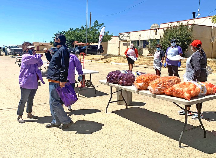 The Nez-Lizer Administration distribute food, bottled water, cleaning products and other essential supplies to Navajo families in the communities of Baca/Prewitt, Tohajiilee, and Casamero Lake in New Mexico May 20. (Photo courtesy of the Navajo Nation Office of the President and Vice President)