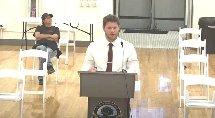 Parks & Recreation Manager Jak Teel speaks to the Cottonwood Council on Tuesday regarding the city's annual Thunder Valley Rally. The event will be replaced by a smaller, local event in 2020, as major bands aren't touring. Courtesy of City of Cottonwood.