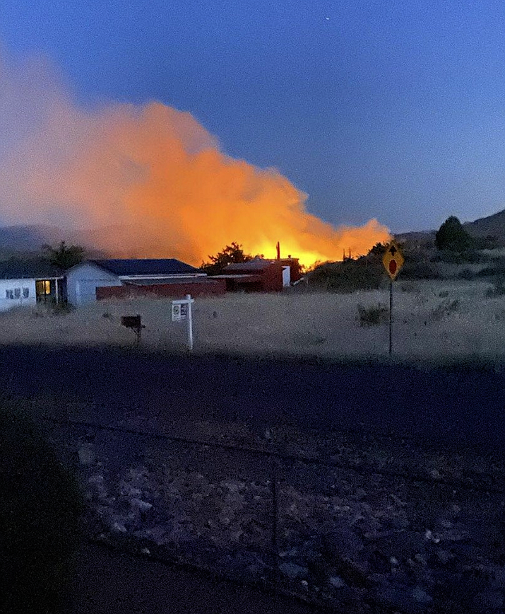 A May 21 fire that started at a Cordes Lakes home burned about five acres. A resident was cited for reckless burning, as he did not have a permit to use a grinder. Courtesy of Yavapai County Sheriff's Office