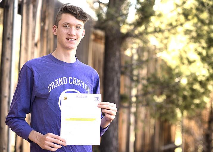 Nolan Lyle receives American Legion scholarship. (V. Tierney/WGCN)