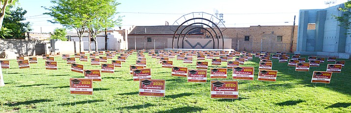 On May 17, Winslow High School graduates were present, as individual yard signs were placed in the Route 66 Park in downtown Winslow. The signs were placed there by teachers and administrators as a way to honor the class of 2020, whose graduation is postponed until August 1 because of the COVID-19 pandemic. (Todd Roth/NHO)