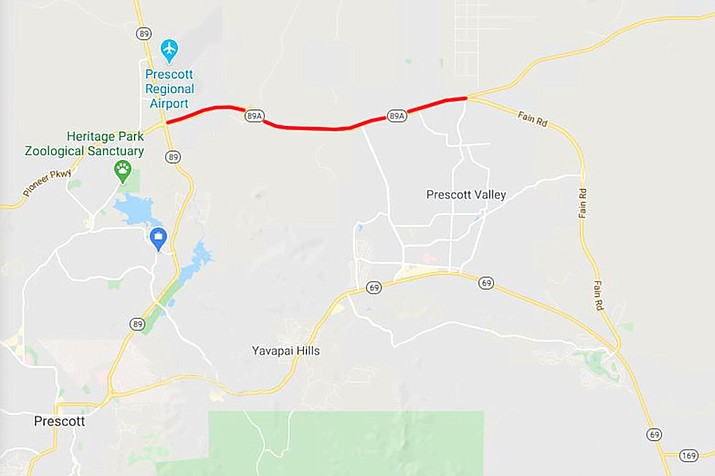 Drivers in the Prescott area should plan for overnight lane restrictions on Highway 89A between Fain Road (milepost 325) and Highway 89 (milepost 317), shown in red, according to the Arizona Department of Transportation. (Google map)