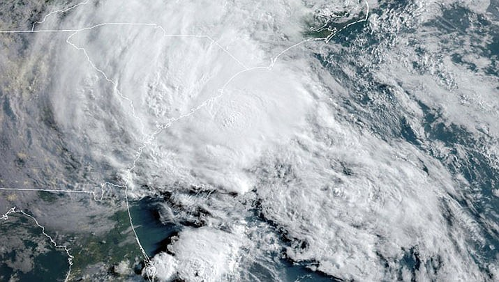 This GOES-16 satellite image taken Wednesday, May 27, 2020, at 11:40 UTC and provided by THE National Oceanic and Atmospheric Administration (NOAA), shows Tropical Storm Bertha approaching the South Carolina coast. (Official NOAA photo/Public domain))