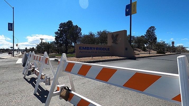 Barricades are seen at the front of Embry-Riddle Aeronautical University on March 26, 2020, in Prescott. ERAU plans to begin face-to-face instruction June 30.  (Jesse Bertel/Courier, file)