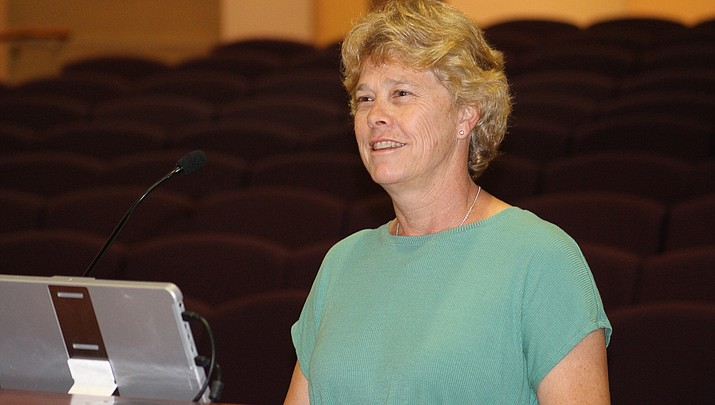 Mohave County Public Health Director Denise Burley speaks to the board of supervisors about the pandemic at a recent meeting. (Miner file photo)