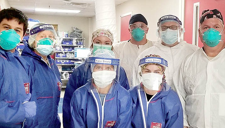 VVMC Nurse Practitioner Irene Forrest Bassett (second from left) with her National Disaster Medical System team members while on a two-week assignment at a hospital outside Atlanta, Georgia. VVN/Vyto Starinskas