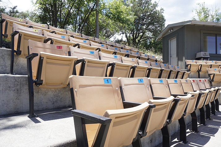 The Yavapai Athletics Department installed individual stadium seating on the concrete stands of Roughrider Park to improve fan experience during the baseball team's games. (Aaron Valdez/Courier)