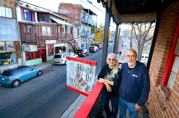 House of Joy new owners Chuck and Mimi Romberger have assembled a list of Arizona artists for a grand opening of the quirky building built at the entrance of Jerome as an art gallery. VVN/Vyto Starinskas