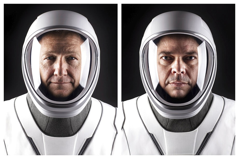 This combination of undated photos made available by SpaceX shows NASA astronauts Doug Hurley, left, and Bob Behnken in their spacesuits at SpaceX headquarters in Hawthorne, Calif. On Wednesday, May 27, 2020, They are scheduled to board a SpaceX Dragon capsule atop a SpaceX Falcon 9 rocket and, equipment and weather permitting, shoot into space. It will be the first astronaut launch from NASA's Kennedy Space Center since the last shuttle flight in 2011. (SpaceX via AP)
