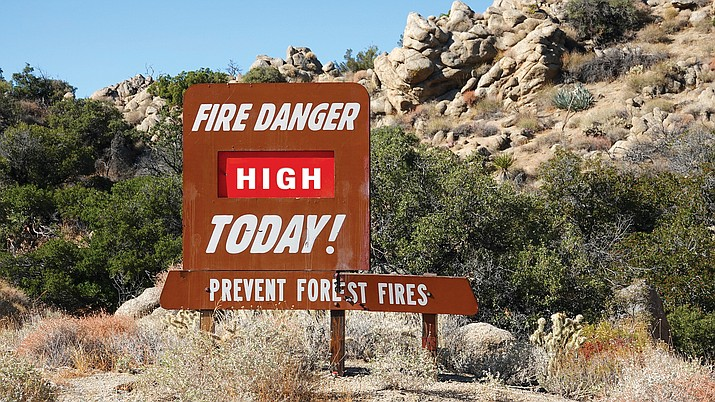 "The Forest Service's Friday, May 29, outlook for Arizona showed southeastern Mohave County and southwestern Yavapai County  in a zone marked ""Fire Danger Class: Very High,"" while most of Yavapai County was merely in the ""High"" danger class."