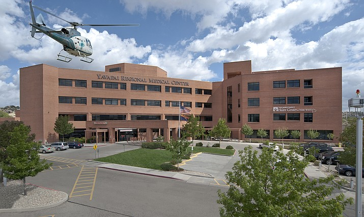 A medical care helicopter flies toward the heliport at Yavapai Regional Medical Center's west campus, just beyond the emergency room and front entrance. (YRMC/Courtesy)