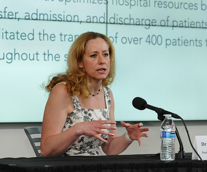 State Health Director Dr. Cara Christ explains her belief that the benefits of getting students back in school outweigh their risks of the spread of COVID-19. (Howard Fischer/Capitol Media Services)