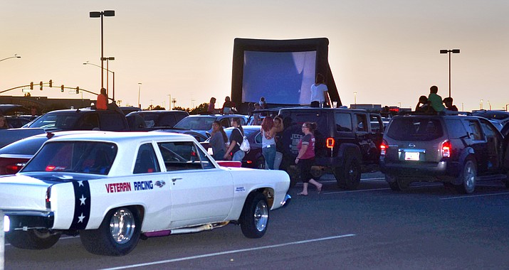 """Hundreds of people came out to watch """"Lilo and Stitch"""" at Prescott Valley's first drive-in movie at Findlay Toyota Center on Friday, May 29, 2020. (Jesse Bertel/Courier)"""