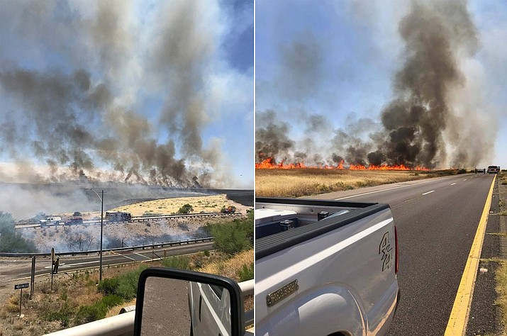 Interstate 17 near Sunset Point was closed in both directions due to a brushfire on Sunday, May 31, 2020. (ADOT)