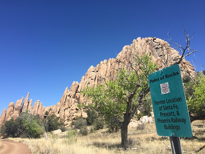 Pictured is the iconic Point of Rocks at Granite Dells. Prescott Mayor Greg Mengarelli has said that the city would get plenty from the proposed deal with AED, including the preservation of 475 acres of open space at and around the iconic Point of Rocks site and at the nearby No-Name Creek. (Cindy Barks/Courier, file)