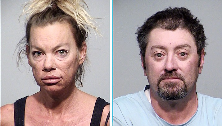 After being pulled over on I-17 for being wanted in a resort theft-of-services case, Stacy Accomazzo was booked on charges that included extreme DUI, while Matthew Ellison's charges including assault per domestic violence. Courtesy of Yavapai County Sheriff's Office