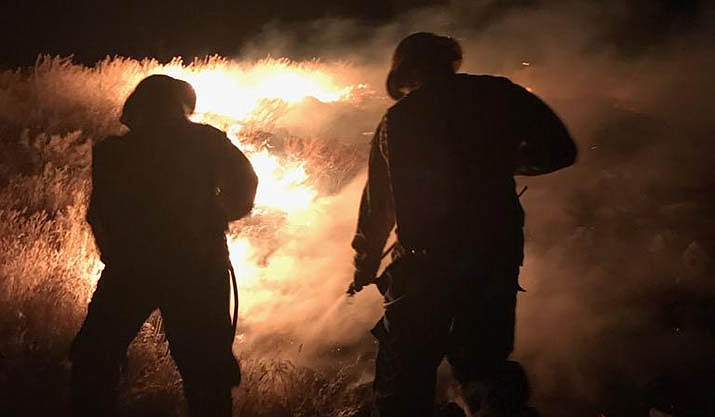 Cottonwood firefighters battled three fires Sunday evening, including this one, near the Rio Verde RV Park. Courtesy Cottonwood Fire Department
