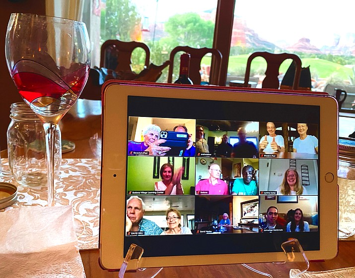 Sunday, April 26, Chef John prepared a gourmet five-course meal with unique wine pairings. All participants picked up their dinner and wine to take home at 5 p.m., logged onto Zoom to meet fellow diners via video. Photo by Bev Copen