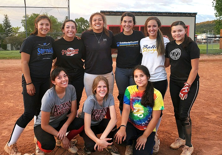 The Arizona Anguish based out of Williams include back row, from left: Aaliyah Alvarado, Jazlyn Romero, Jenna Huey, Natalie Hansen, Cassidy Juarez and Annabelle Cook. Front row: Shiya Romero, Cheznie Carter and Shione Alvarado. Not pictured: Abbie Bean and Leigha Walker. (Submitted photo)