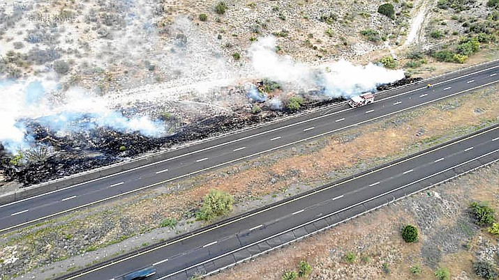 Tuesday, firefighters extinguished a fire along Interstate 17 northbound between mileposts 294 and 296. Photos courtesy Manny Romero