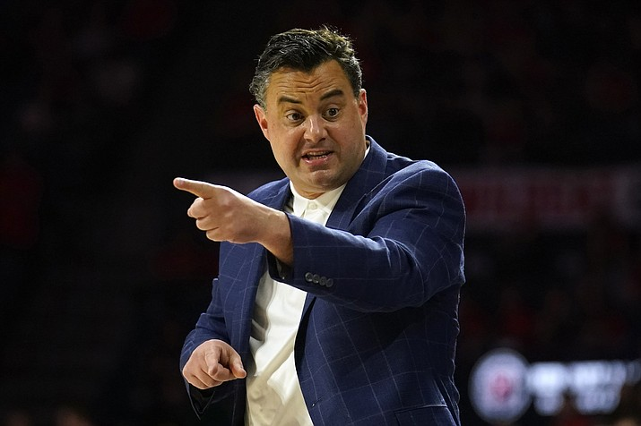 In this March 7, 2020, file photo, Arizona head coach Sean Miller gestures during the first half of an NCAA college basketball game against Washington, in Tucson, Ariz. Miller has reeled in some of nation's best recruiting classes during his 11-year stint at Arizona. His latest group has a distinctly international slant to it.(Rick Scuteri/AP, file)