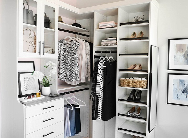 A custom closet makes it easy to quickly see and access what you need moving in and out of the closet without feeling stressed. (Inspired Closets)