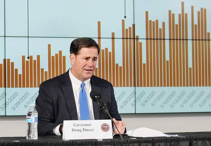 Gov. Doug Ducey on Thursday, June 4, 2020, defends his decisions to let his stay-at-home order and restrictions on businesses expire even as the state is posting more COVID-19 cases and the number of deaths approaches 1,000. (Howard Fischer/Capitol Media Services)