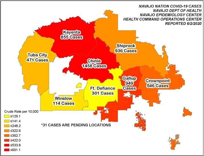 The total number of positive COVID-19 cases for the Navajo Nation has reached 5,661 as of June 3. (Map/Office of the President and Vice President)