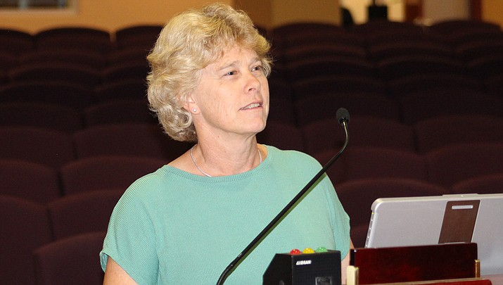 Mohave County Public Health Director Denise Burley updates the county board of supervisors about the coronavirus pandemic. (Photo by Agata Popeda/Kingman Miner)