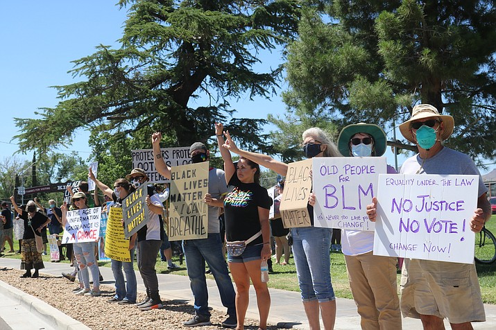 Protesters gathered for the third and final day of Black Lives Matter protests at Locomotive Park in Kingman on Saturday, June 6. (Photo by Travis Rains/Kingman Miner)