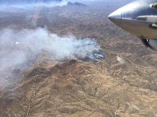 The Tortolita Fire has burned 3,500 acres seen from an aerial view from air attack. (Photo/Inciweb)