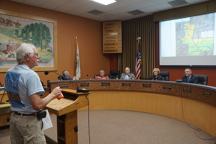 """Prescott resident LaRay Todd speaks to the Prescott City Council Tuesday, June 9, 2020, during a study session for public comment on the Arizona Eco Development's plans in the Granite Dells. Quoting noted naturalist John Muir, Todd told the council he did not have """"blind opposition to progress, but opposition to blind progress."""" (Cindy Barks/Courier)"""