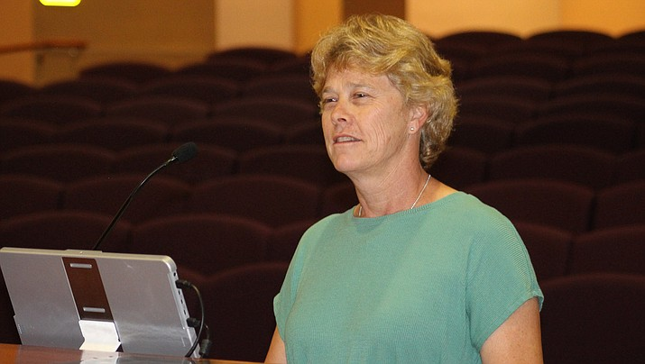 Denise Burley, Mohave County's public health director, speaks to the board of supervisors on May 26 about the coronavirus outbreak. There has been a surge in cases in the county in the past three weeks that Burley attributes to the general spread of the virus throughout the community. (Miner file photo)