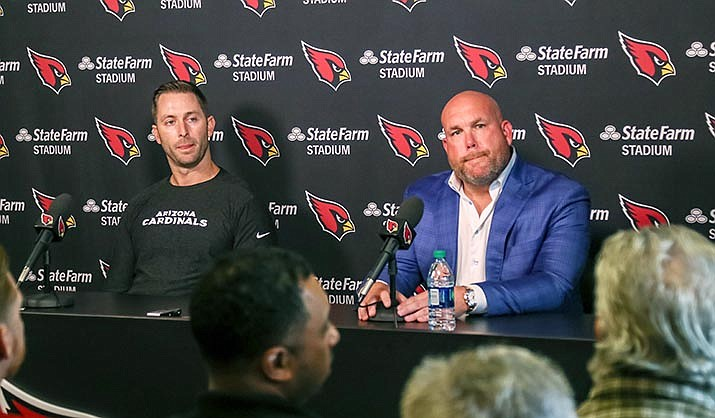 Arizona Cardinals coach Kliff Kingsbury (left) and general manager Steve Keim hope conversations about race continue throughout the season. (Photo by John Mendoza/Cronkite News)