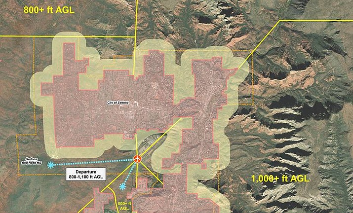 A map of Sedona shows the new no-fly zones for helicopter tours in the city. (Yavapai County/Courtesy)