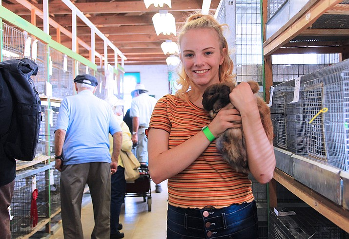 4-H member Kristen Tozer shows her rabbit at the 2019 Coconino County Fair. (Wendy Howell/WGCN)