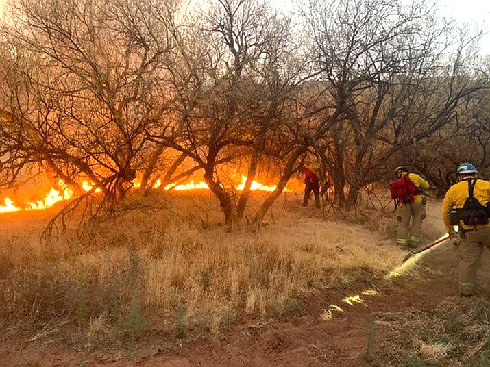 Even though the 4:40 a.m. fire was contained, it took the Verde Valley Fire District, Sedona Fire and Copper Canyon Fire & Medical an hour and half to put out the fire that was about 100 yards from nearby homes. Sedona Fire District photo