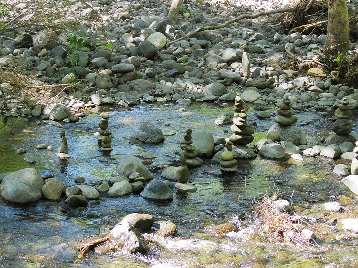 Rock sculpture in Clear Creek. Photo by Melissa Bowersock