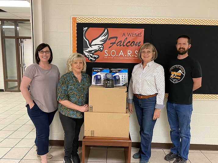 Williams Elementary-Middle School receives 25 heavy duty pencil sharpeners from Associate Broker and Property Manager Diana Croteau of Robinson and Associates Real Estate in Williams. The pencil sharpeners will be used in the classrooms. With Croteau are WEMS Principal Carissa Morrison, Counselor Carol Gombar and Student Services Director Andrew Wolman. The school is seeking 10 more pencil sharpeners for classrooms. Anyone interested can contact Wolman at (928) 635-4672. (Submitted photos)