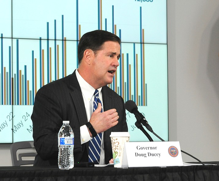 Gov. Doug Ducey discusses the latest trends Thursday, June 11, 2020, in the spread of COVID-19 in Arizona. (Howard Fischer/Capitol Media Services)
