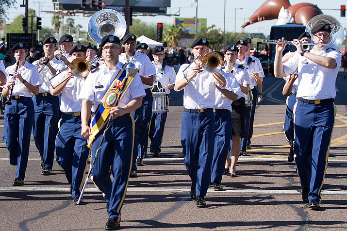 The 108th Army National Guard Band leads the way as the first musical unit in the Phoenix Veterans Day Parade Nov. 11 in Phoenix. (U.S. Army photo by Staff Sgt. Adrian Borunda)