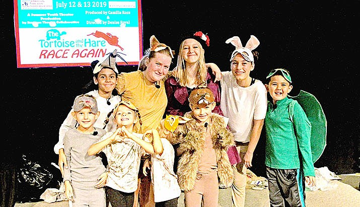 "Here is the cast from the 2019 ""The Tortoise and the Hare Race Again"" production – From left to right: Back Row – Savanna Royal, Orielle Cohen , Skyrah Jade, Rae Renaud, Zen Polansky; Front Row – Jace Wilson, Peyton Shields, Giselle Shields, Gianna Wilson"